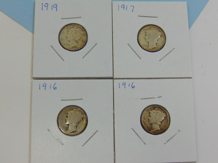 1916-19 Mercury Dime Silver Coin Lot Of 4