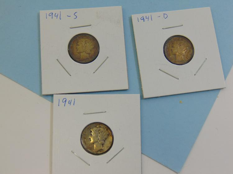 Lot 60: 1941 PD & S Mercury Dime Silver Coin Lot Of 3