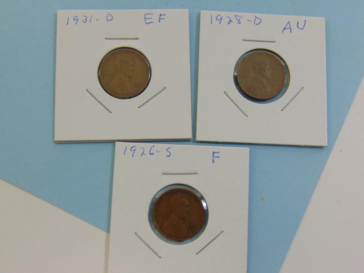 1926S 1928D & 1931D Wheat Cent Coin Lot