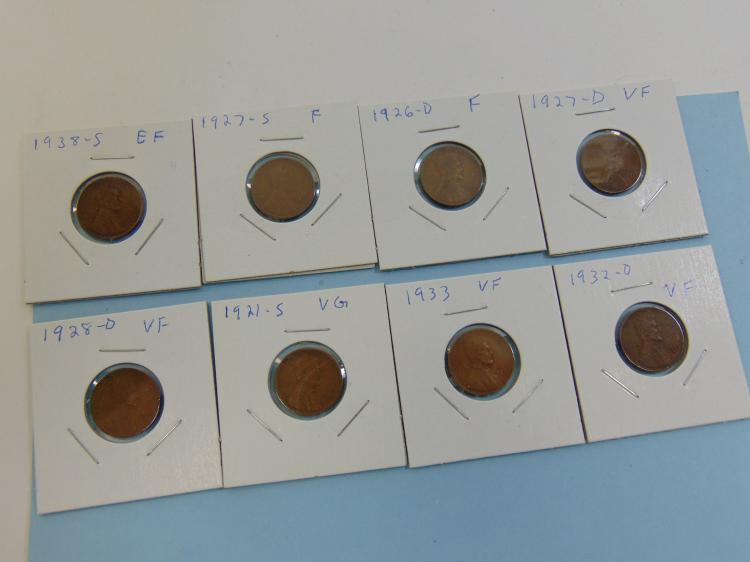 Assorted Wheat Cent US Carded Coin Lot Of 8