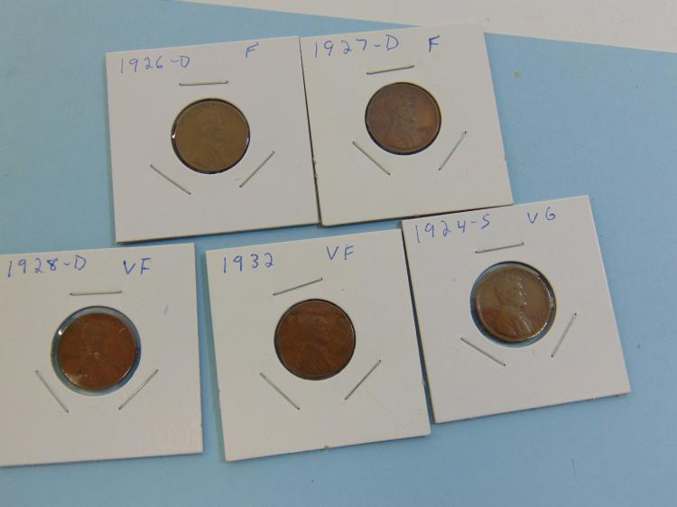 Assorted Wheat Cent Carded US Coin Lot Of 5