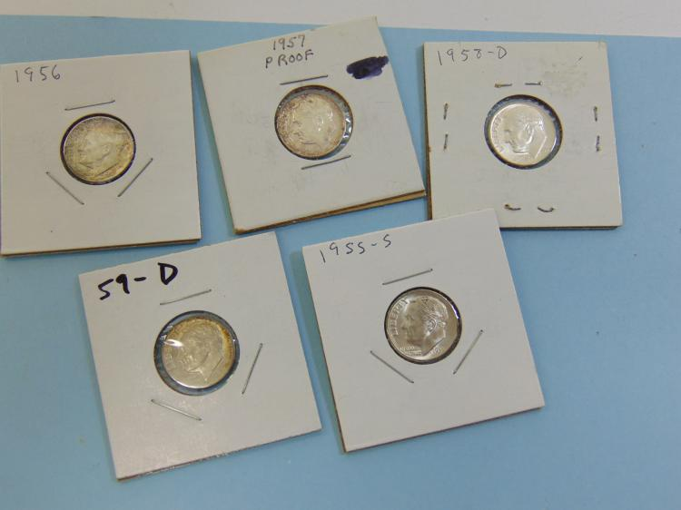 Lot 66: Assorted Roosevelt Dime Mint Sheen Coin Lot Of 5