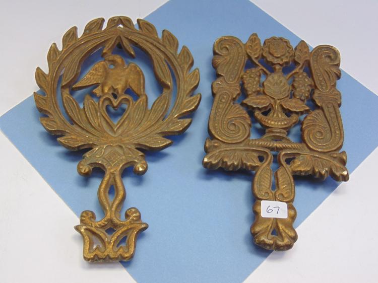 Vintage Brass Ornamental Trivet Lot Of 2