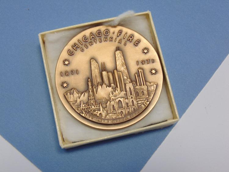 1971 Bronze Chicago Fire Centennial Medallion