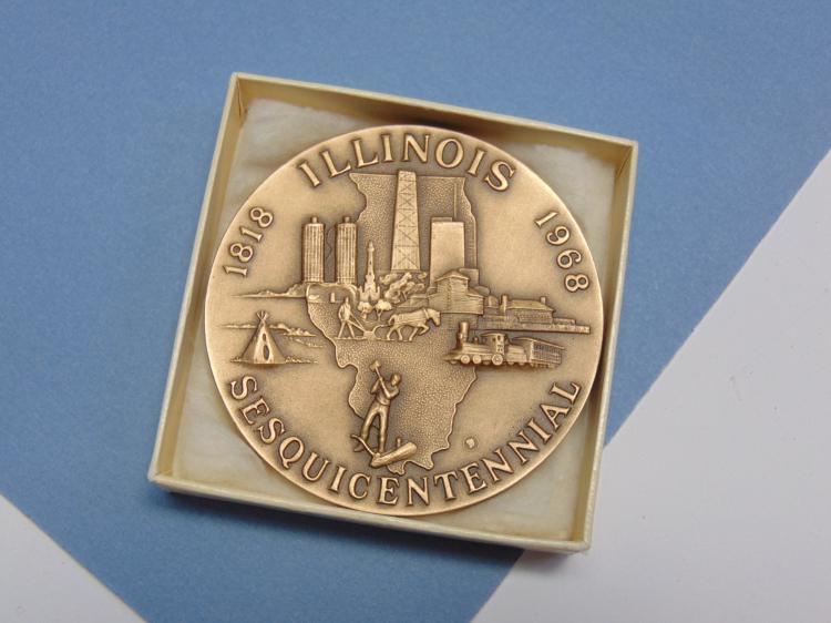 1968 Bronze Illinois Sesquicentennial Medallion