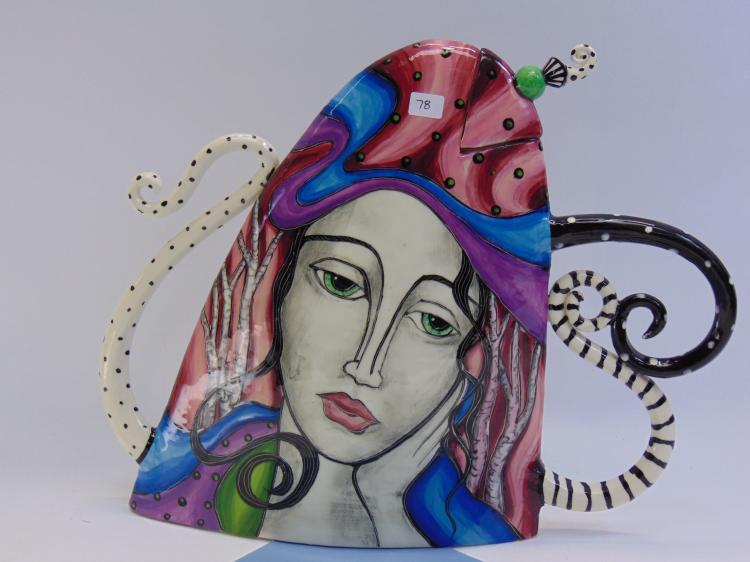 Decrorative Signed Artist Womens Head Figurine