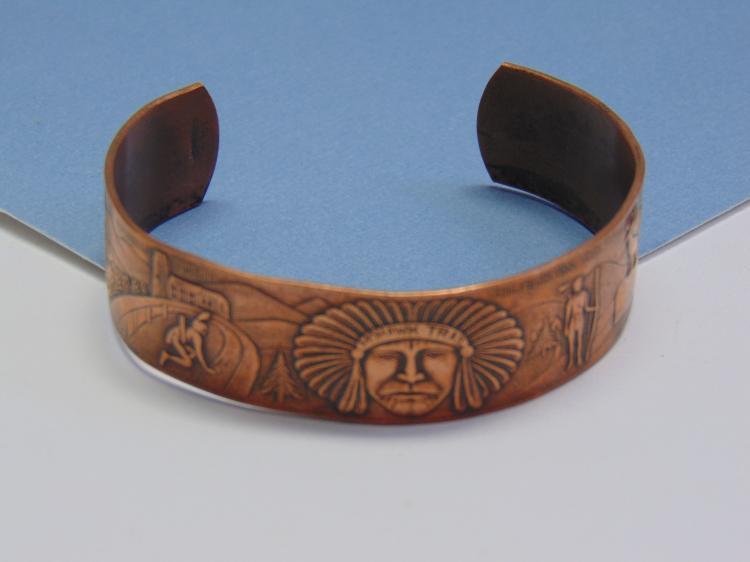 Native American Storyteller Copper Cuff Bracelet