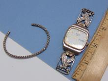 Lot 83: Vintage Sterling & 12K Gold Watch Tips & Bracelet