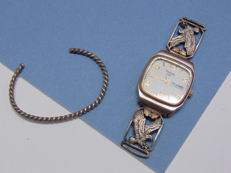 Vintage Sterling & 12K Gold Watch Tips & Bracelet