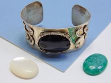 Lot 88: 40g Sterling Silver Multi-Stone Cuff Bracelet