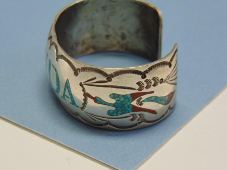 Lot 89: 53g Sterling Inlaid Signed Begay Navajo Bracelet