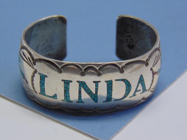 53g Sterling Inlaid Signed Begay Navajo Bracelet