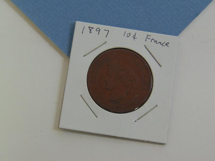 1897 France 10 Centimes Copper Carded Coin