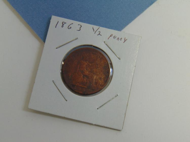 1863 British 1/2 Penny Copper Carded Coin