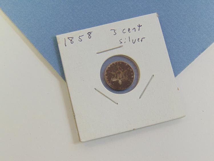 1858 3 Cent Silver US Carded Coin