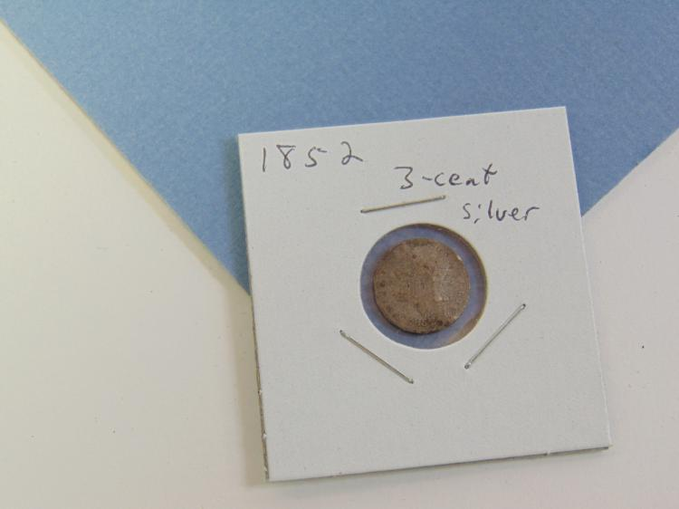 1852 3 Cent Silver US Carded Coin