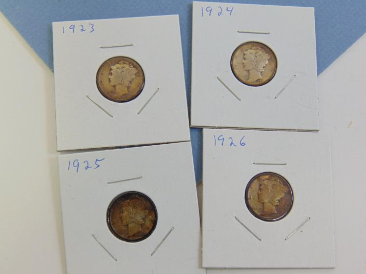1923-26 Mercury Dime Silver Carded Us Coin Lot