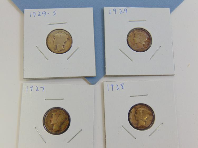 Lot 97: 1927-1929S Mercury Dime Silver Carded US Coin Lot