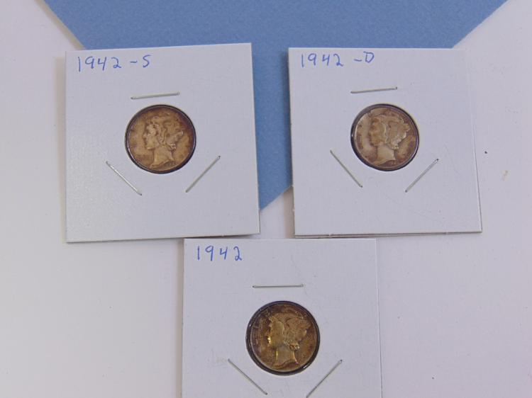 1942 PD & S Mecury Dime Silver Carded US Coins