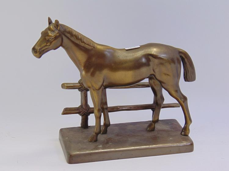 Antique Frankart Brass Horse W/ Fence Statuette