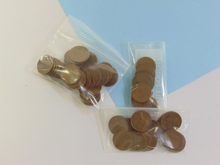 Lot 114: 1945 PS & D Wheat Cent US Coin Lot Of 66