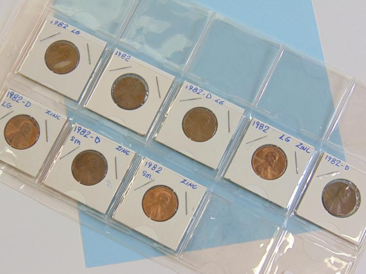 1982 Copper & Zinc US Cent Coin Lot Of 8