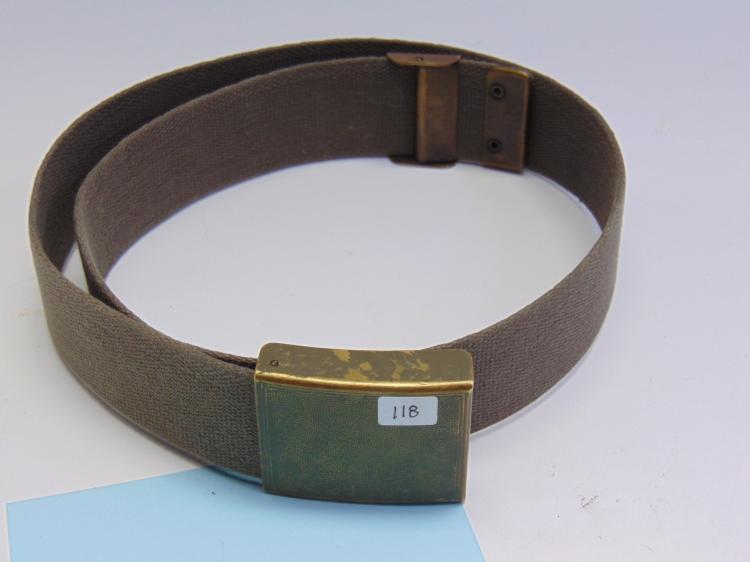 1950's German Military Web Belt W/ Brass Buckle