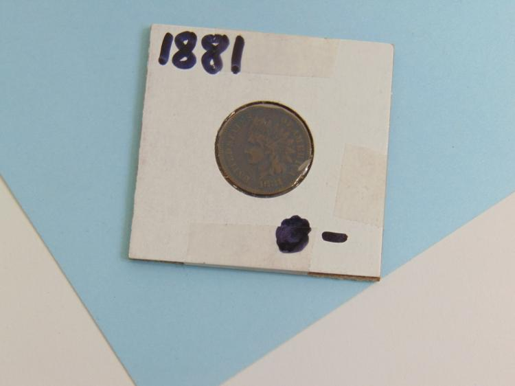 Lot 127: 1881 Indian Head Cent US Carded Coin