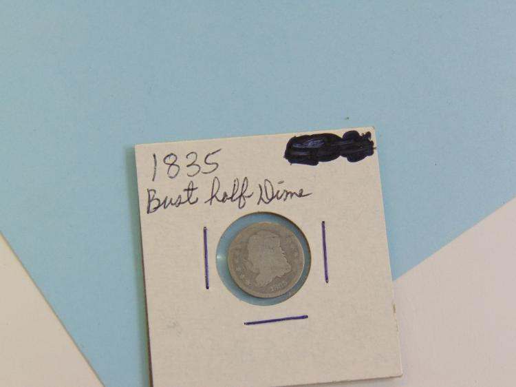 1835 Bust Half Dime Silver US Carded Coin