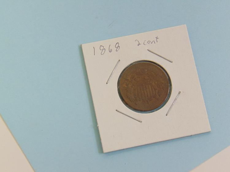 Lot 130: 1868 2 Cent US Carded Coin