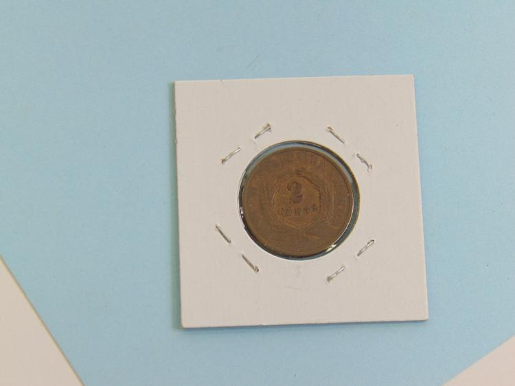 1868 2 Cent US Carded Coin