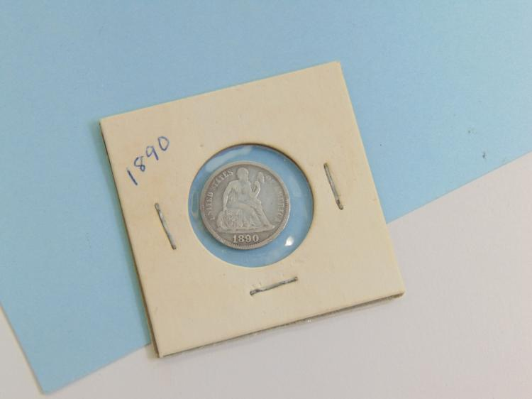 Lot 132: 1890 Seated Liberty Dime US Carded Coin