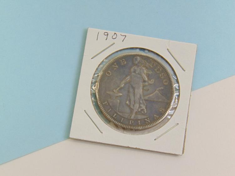 Lot 133: 1907 One Peso US Philippines Silver Carded Coin