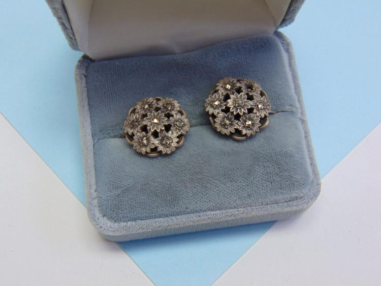 7.8g Sterling Marcasite Screw Back Earrings