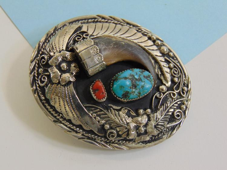 Nickel Silver Turquoise Coral Claw Belt Buckle