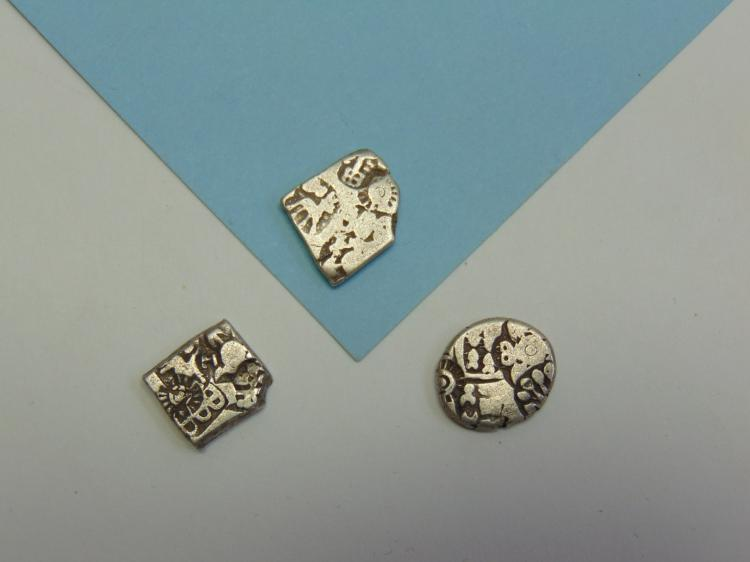 250BC India Punch Mark Silver Coin Lot Of 3