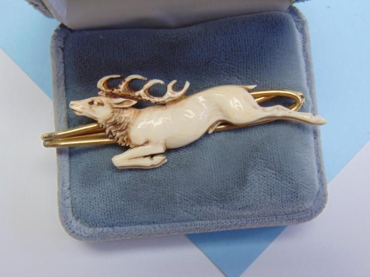 Vintage Carved Ivory Elk Tie Pin