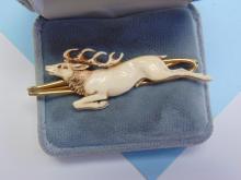 Lot 142: Vintage Carved Ivory Elk Tie Pin