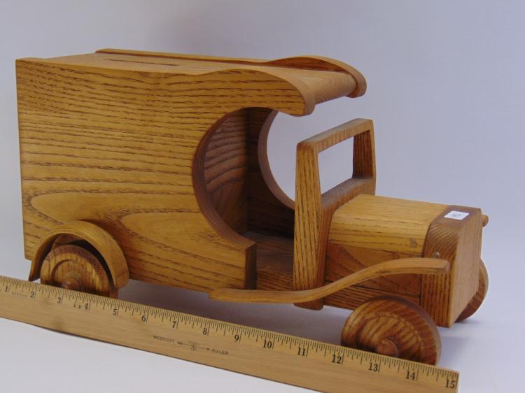 Lot 145: Vintage Wood Postage Box Bank Car