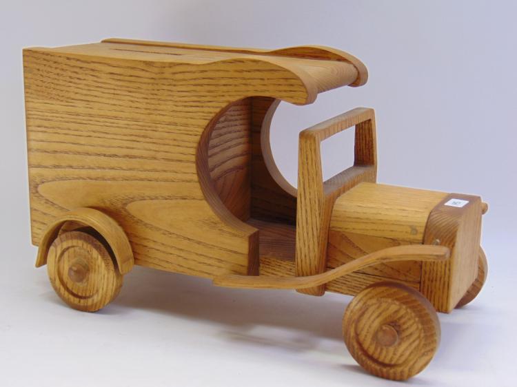 Vintage Wood Postage Box Bank Car