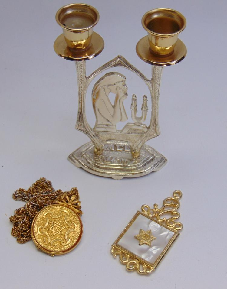 Vintage Jewish Candleholder & Necklace Lot