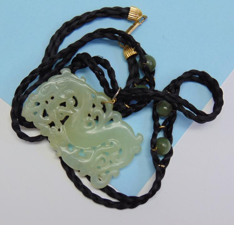Lot 151: Natural Carved Jade Dragon Pendant Necklace