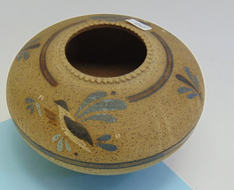 Vintage Signed S Mrosek Painted Clay Pot