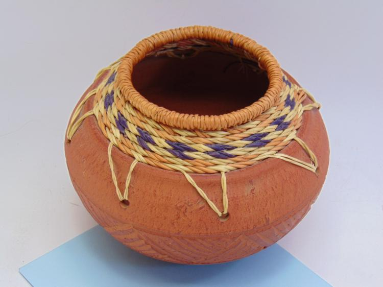 Native American Etched Clay Basket Pot