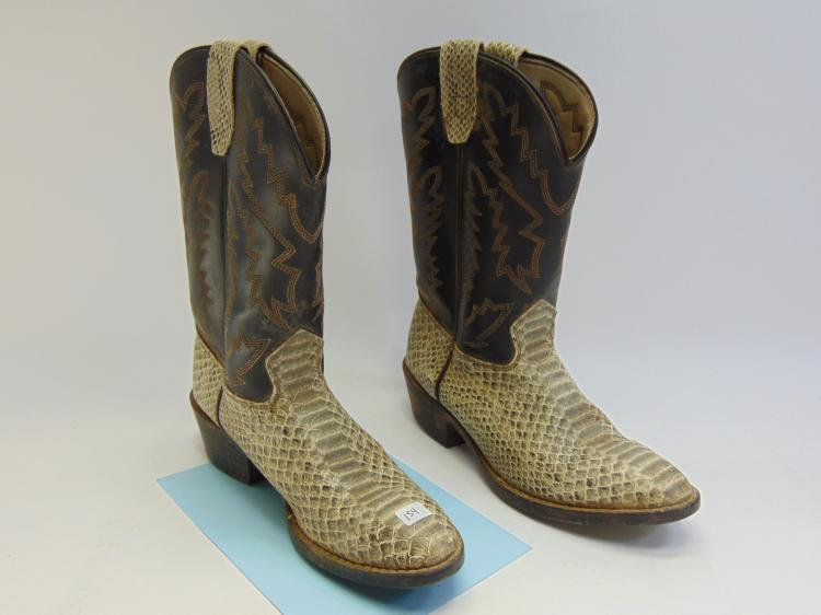 Lot 154: Texas Made Faux Snake Skin Cowboy Boots Size 5D
