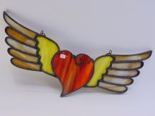Lot 157: Handcrafted Flying Heart Stained Glass Decoration