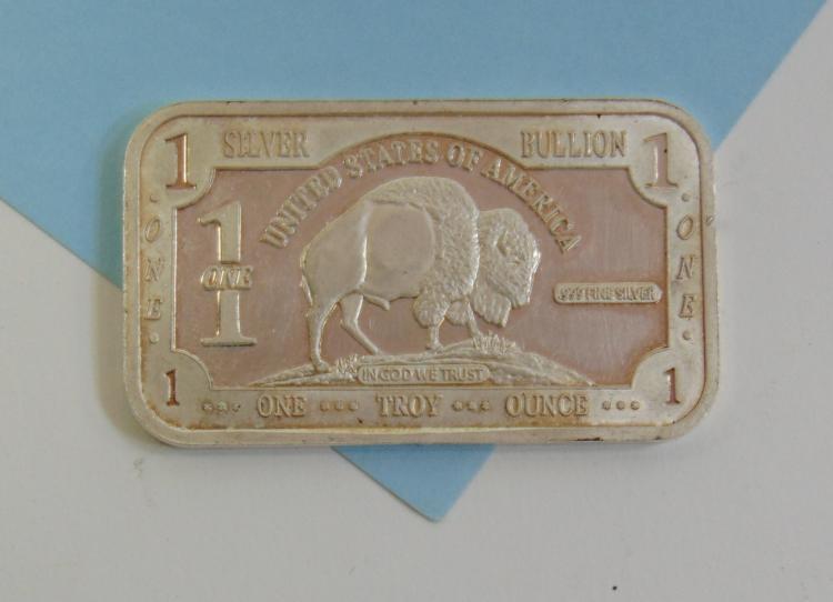 One Troy Oz 999 Fine Silver Buffalo Ingot