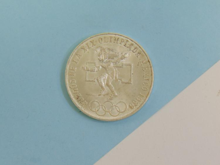 1968 Mexico Olympic 25 Peso Silver Coin