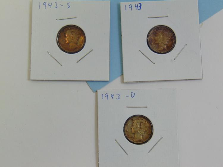 1943 SD & P Mercury Dime US Carded Coin Lot Of 3