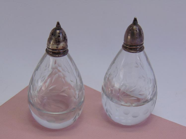 Sterling Etched Crystal Glass Salt Pepper Shakers